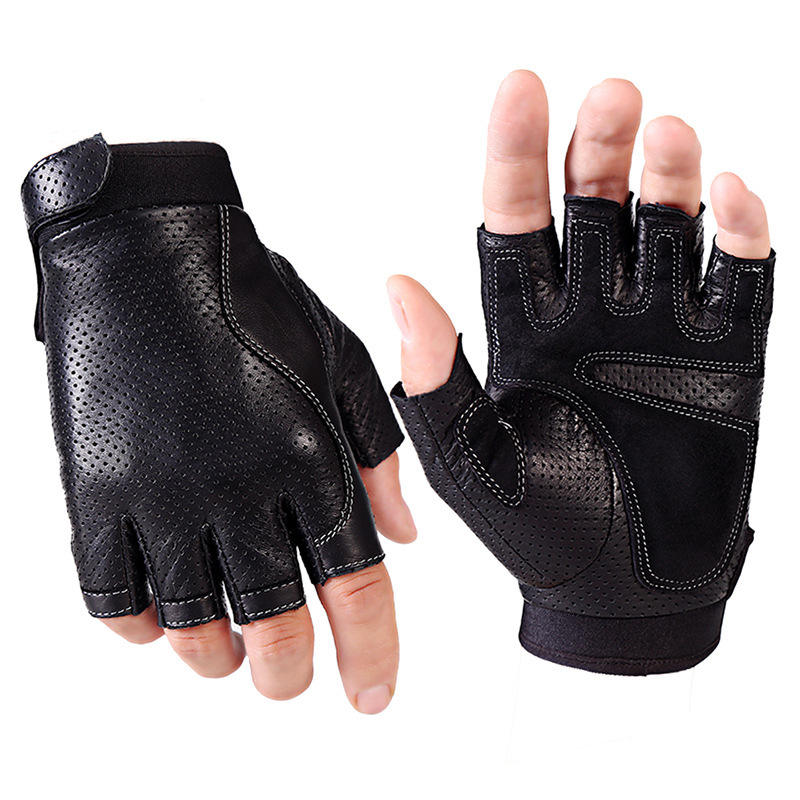Men's Sheepskin Fingerless Half Finger Driving Fitness Motorcycle CYCLING Leather Gloves