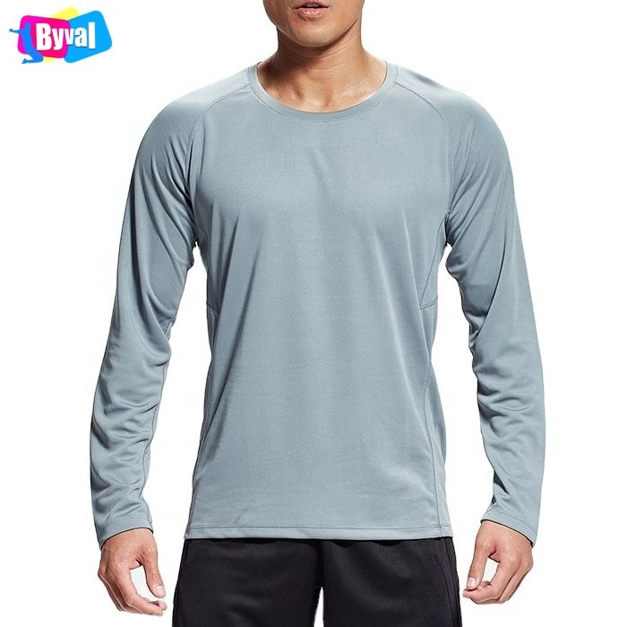 New Arrival Wholesale Quick Dry 100 Polyester Plain Long Sleeve Sports Mens Blank Custom Logo T shirt with Reflective Stripe