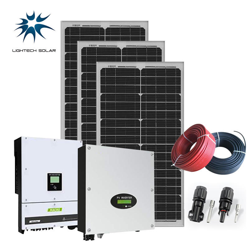 LIGHTECH 5KW Solar Energy System On Grid 3KW 10KW 20KW Rooftop Home Solar Power System
