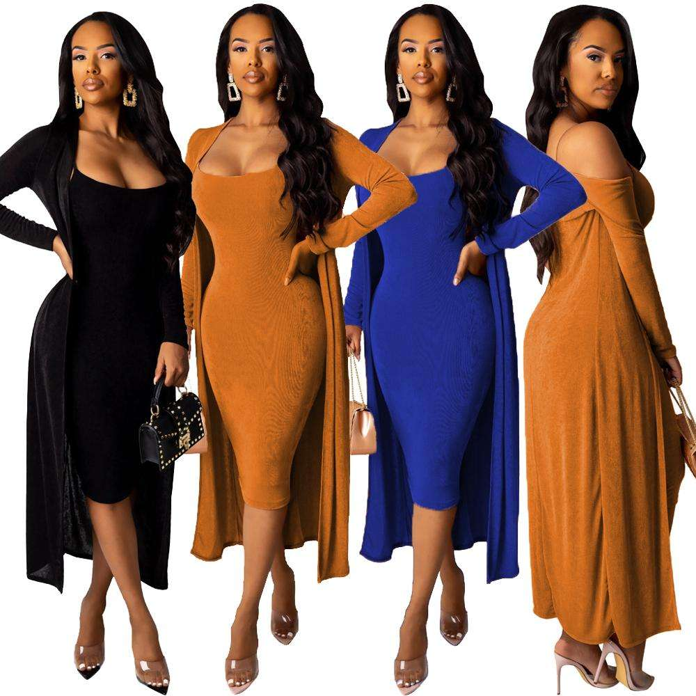 Midi Dress with Robe Set Velvet 2 Piece Sets Outfit for Women Black Blue Khaki Dresses with Cardigan Two Pieces Set RS00156