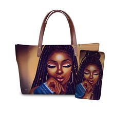 2pcs Handbags Set for Women Black Art African American Girls Printing Beach Bags Ladies Hand Bag&Purse Females Totes