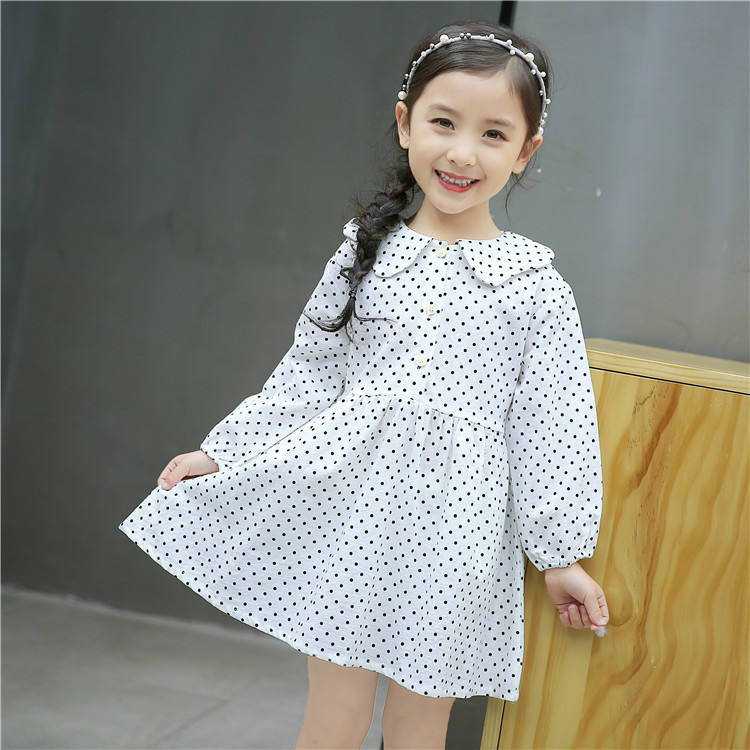 New Style Princess Spotted Dress Cute Long Sleeve Dress Girls Clothing Kids Clothes