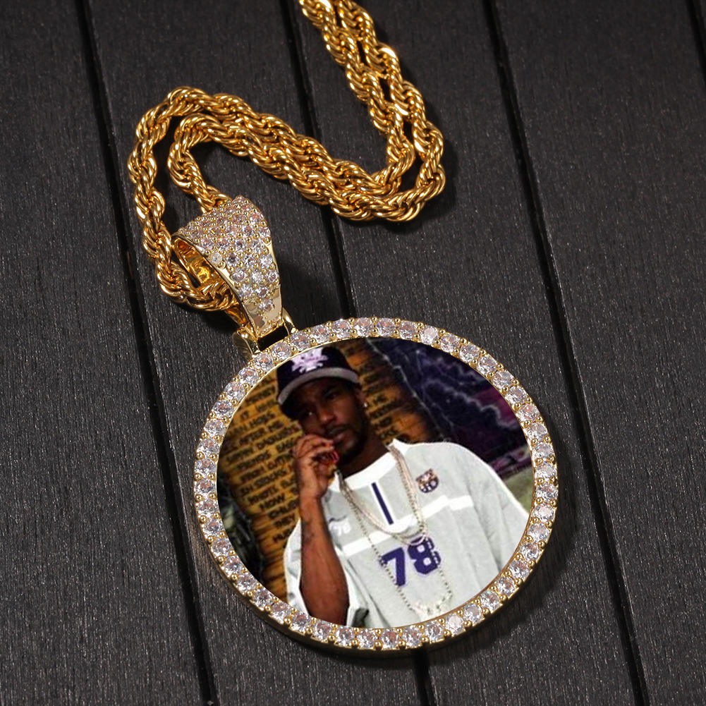 D&Z Custom Photo Memory Medallions Solid Pendant With Tennis Chain Hip Hop Jewelry Personalized Cubic Zircon Chains Gift