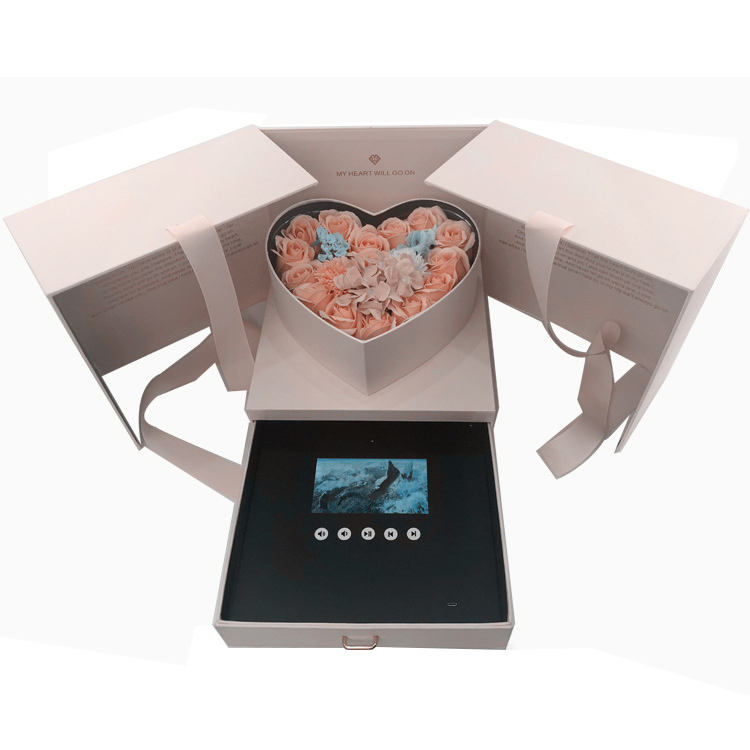 Video Gift Box Birthday Set Luxe Heart Packaging Shape Rose Flower Jewelry Earring Drawer Type Lcd Video Gift Box