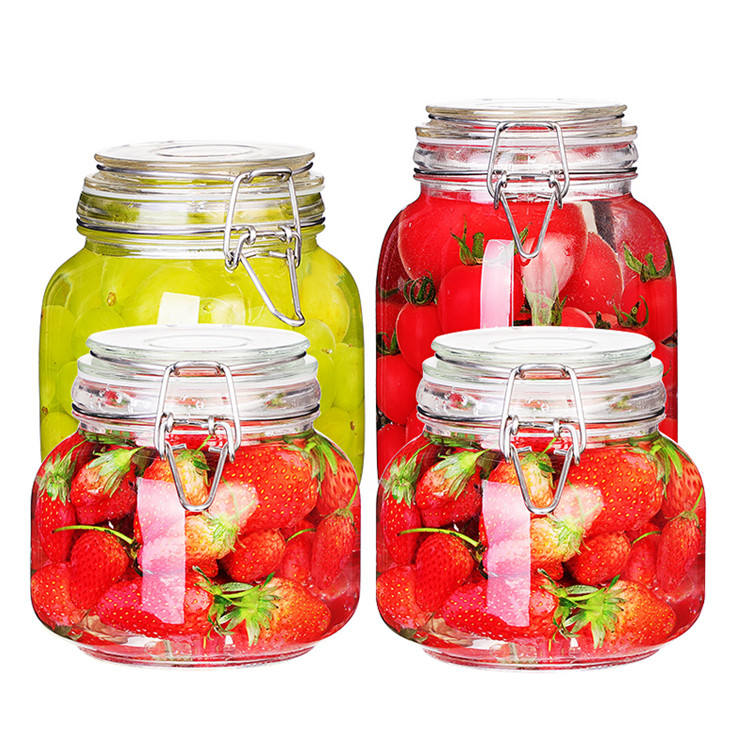 food grade 500ml-2000ml clear square sealed glass jar with clip top lid