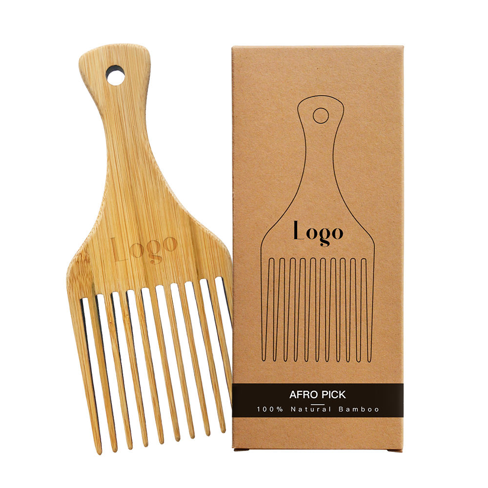 Custom Wholesale Wooden Hair Pick Comb Afro Nan Bamboo Wood Pick Comb