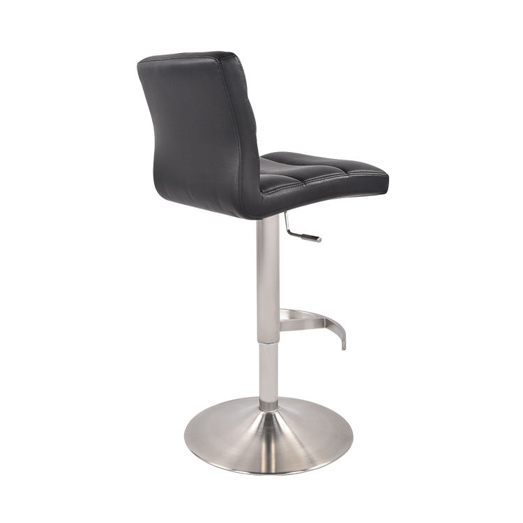 Modern Black Adjustable Leather Swivel Back Bar Stool High Chair With Metal Footrest