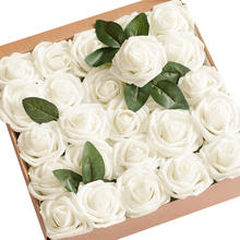 Amazon DIY PE Foam Heads Box Real Looking Ivory Rose Artificial Flowers