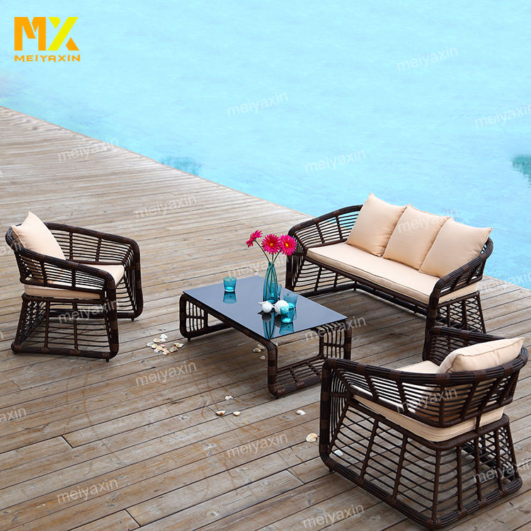 Luxury outdoor wicker rattan sofa set designs garden sofa furniture