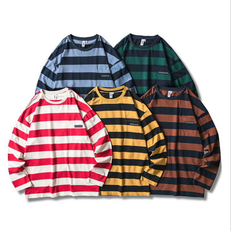 Autumn Korean Men's Striped Contrast Hip Hop Large Size O-neck Long Sleeve Pullover T-shirt