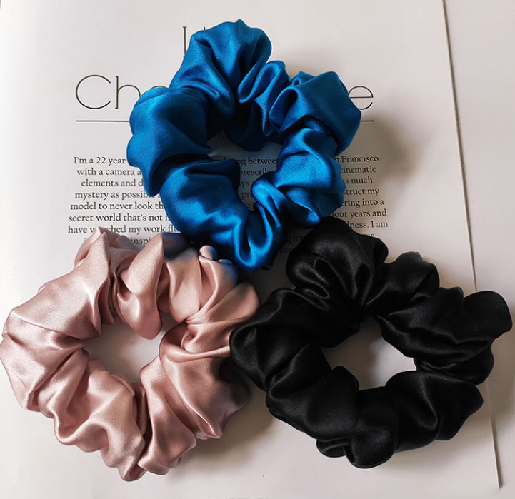 Women Fashion Custom Logo 6cm Silk Hair Ties band Hair Scrunchies for Elastic Hair