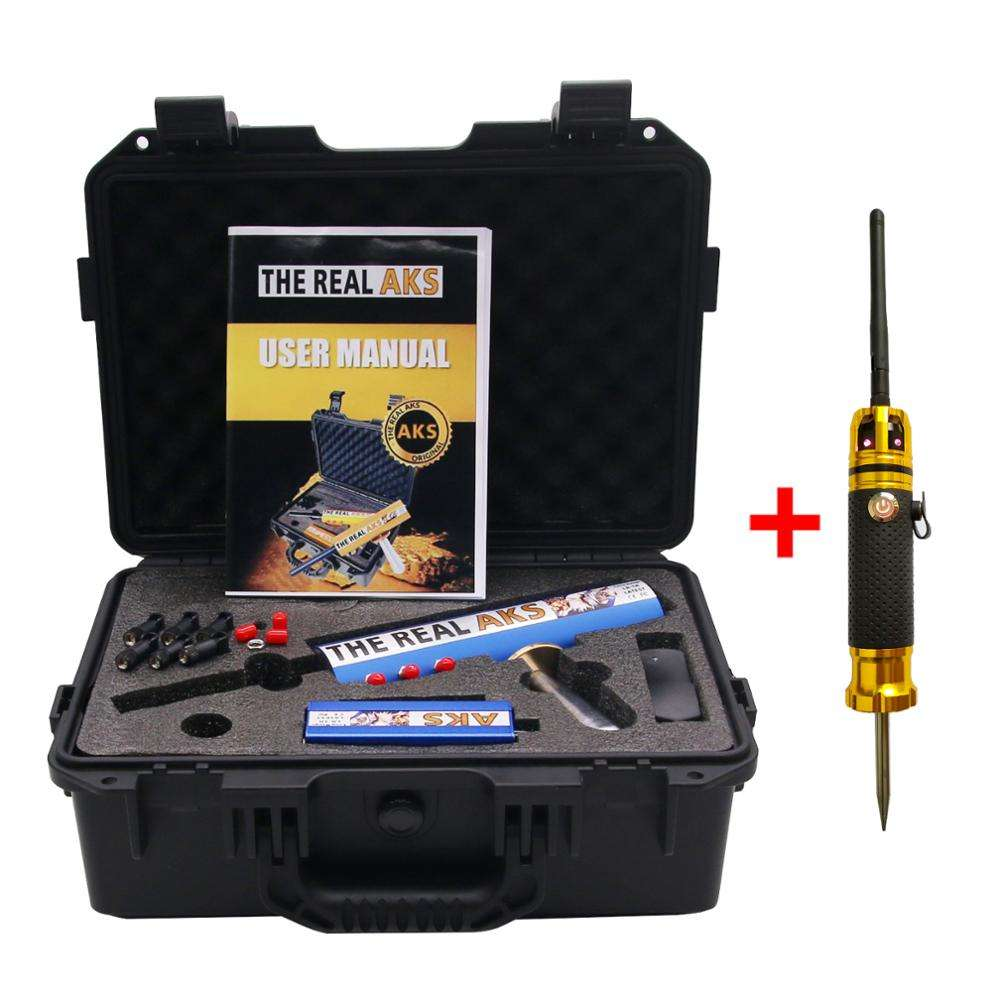 The Real AKS Long Range Gold Detector for Silver Gem Diamond + Filter with 6 Antennas Plastic Case