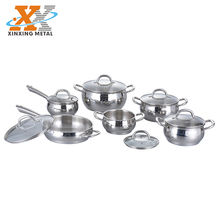 New Style Kitchenware Accessories Pots And Pans Set Stainless Steel 12 Piece Cookware