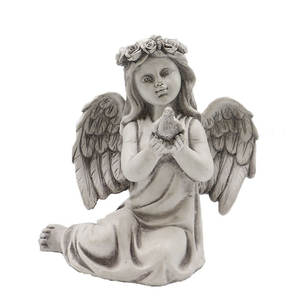Hot sale customized polyresin wings sitting angel cherub figurine, garden peace sitting resin angel statues%
