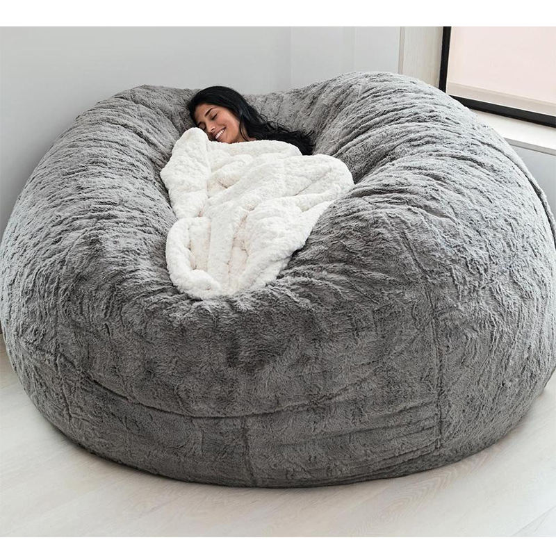 dropshipping 7ft fur fabric giant beanbag cover Soft Fluffy Faux Fur big Round Bean Bag Lazy Sofa bed living room furniture