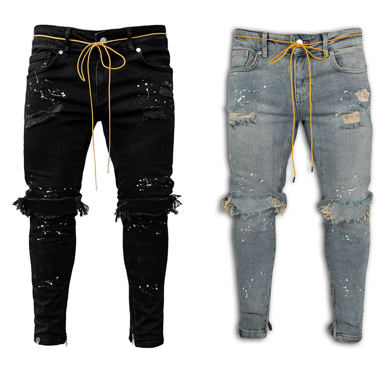 Fashion men's jeans Slim fit ripped feet pants New outdoor breathable men's jeans