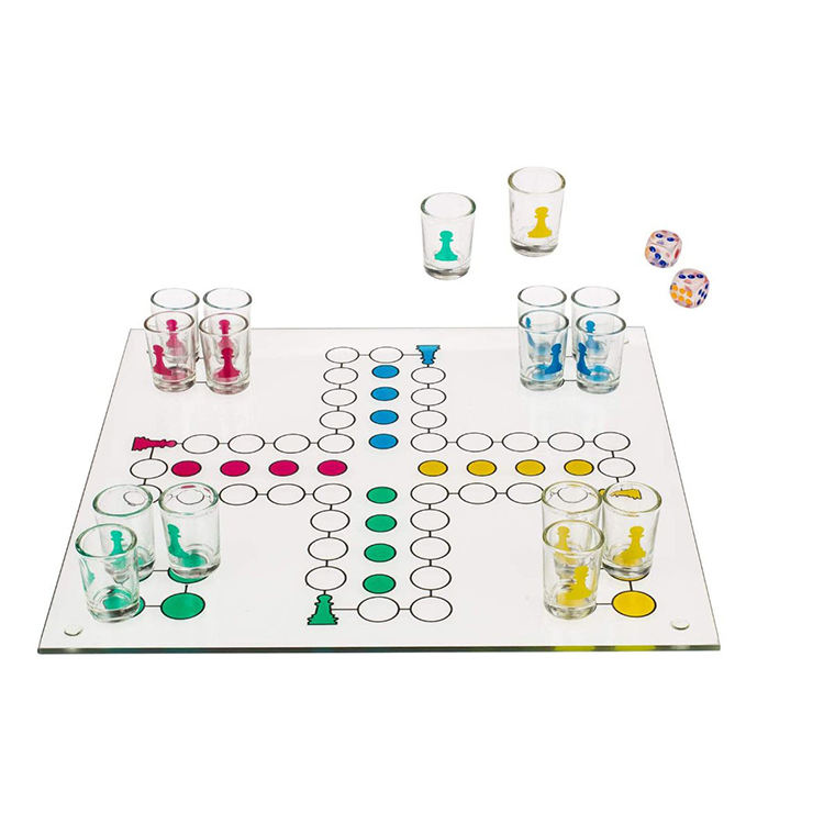 Promotional Adults High Quality Large Shot Glass Ludo Chess Games Board for Drinking Game