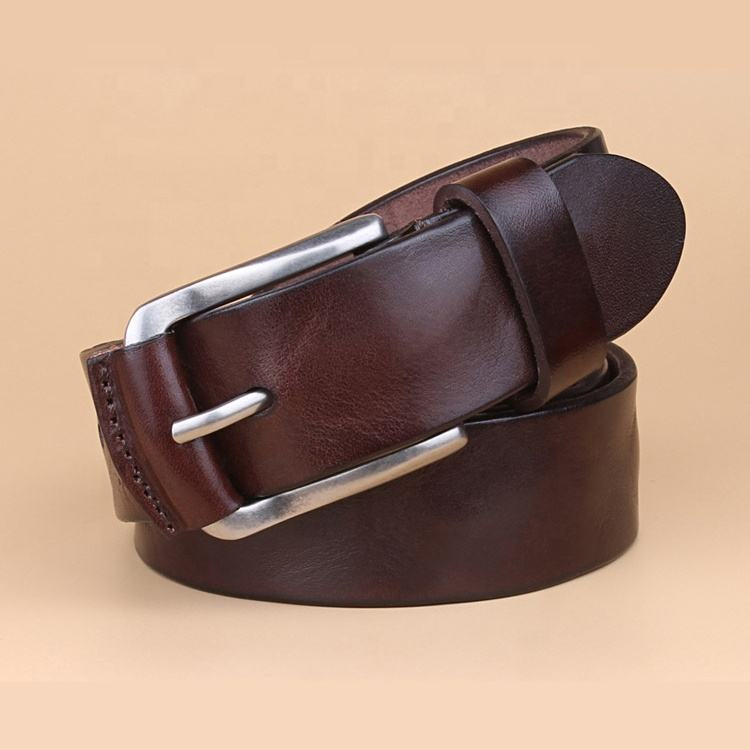 Men Genuine Leather Dress Luxury Belt with Single Prong Buckle