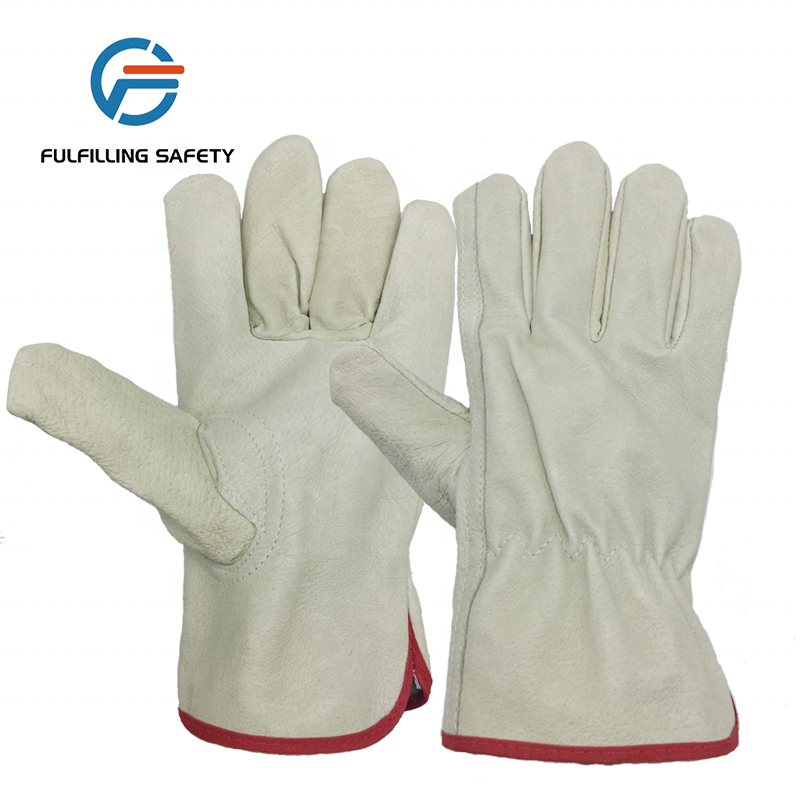 Fashion AB grade cowhide leather driver working gloves