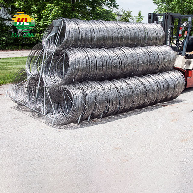 "Razor Wire Each Coils 50 FT Ribbon Barbed 18"" Diameter Razor Ribbon Helical Barbed Wire"