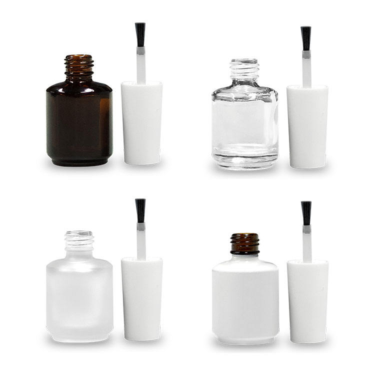 Square Frosted Glass Wholesale White Fancy Luxury Custom 15ml Uv Gel Empty Nail Polish Bottle with Brush