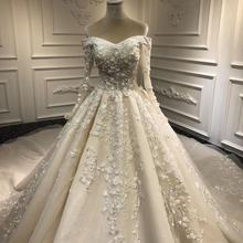 Long Sleeve Off Shoulder Luxury Lace Pleating Long Train The Bride Wedding Dress Ball Gown