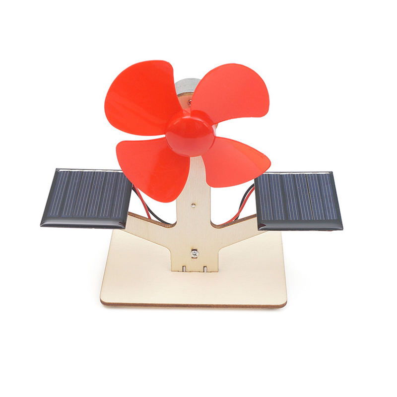 Solar powered fan educational wooden solar toy kit with two solar panels