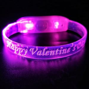 Programmable LED Remote Controlled Bracelets with Logo led flashing bracelet