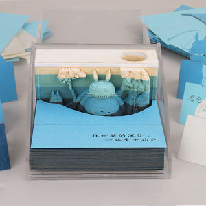 Creative handmade diy paper gift model with light notepad three-dimensional note paper postcard