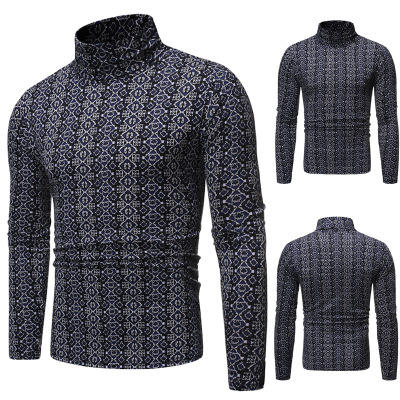 FJUN casual clothes men custom all over print long sleeve turtle neck t shirt