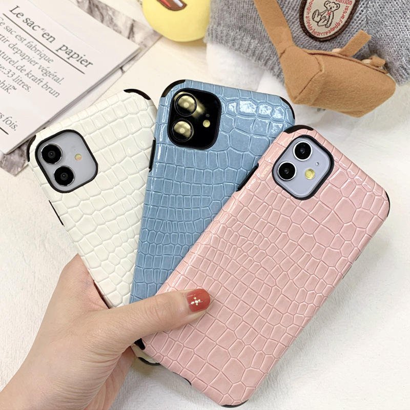 Crocodile Skin Pattern Leather Phone Case For IPhone 12 Pro Max Premium Soft Back Cover For IPhone Case 12 Mini//XR/X/ XS