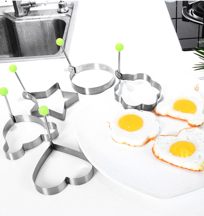ShengHai Silicone Egg Rings Non Stick Sandwich Egg Cooking Rings for Stunning Breakfast Perfect Fried Egg Mold or Pancake Rings 4-PK Blue With 1 Free Silicone Brush