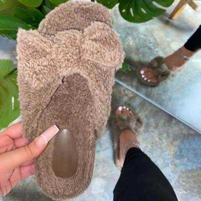 Women Winter Slippers Wholesale Women's Bow Slippers Home Winter Slippers Fur Slides