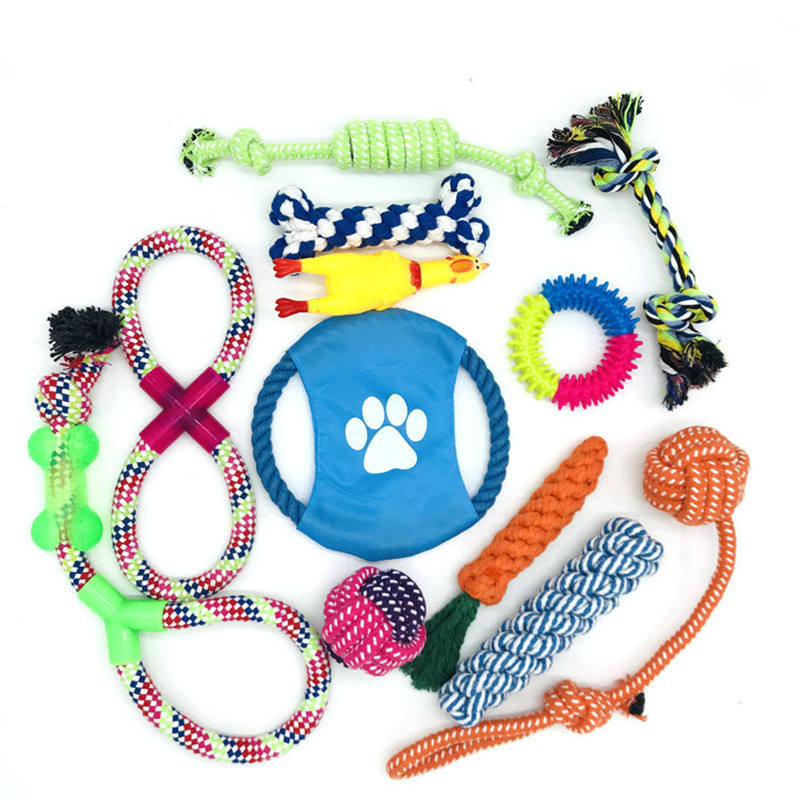 Fun 12 pack Pet Squeaky Rope Toy Gift Interactive Tug Dog Chew Toys Set For Dog Play