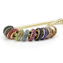 Gold Plated Spacer Beads with Colorful Rhinestone European Bead DIY Charms Bracelet jewelry making