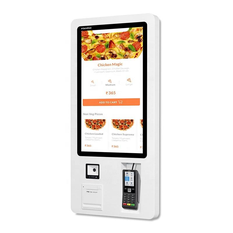 Self ordering payment kiosk touch checkout service terminal restaurant fast food order machine self order kiosk in restaurant
