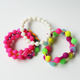 Fashion accessories soft rubber wristband custom cute Silicone Bead Bracelets for kids
