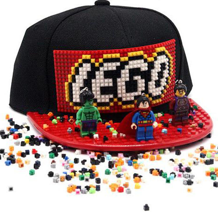 wholesale Custom Lego Building Bricks Toy Plain Snapback Caps DIY Brick Hat For Kids