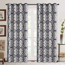 U.S. Local Delivery Geometric Pattern Blackout Curtain For Bedroom Thermal Insulated Drapes (2 panels)