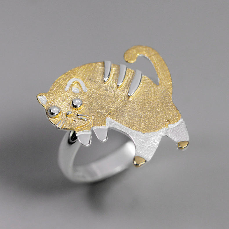 Handmade 925 Sterling Silver Cute Cat Rings For Women Jewelry Accessories