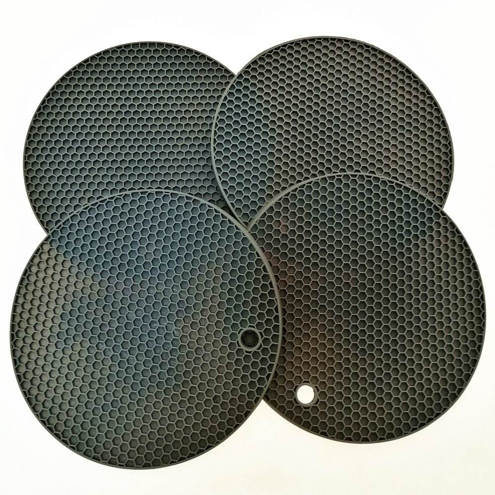 Silicone Trivets Mat and Hot Pad Mat Round Pot Holder and Non Slip Flexible Durable Dishwasher Safe Heat Resistant Color Black
