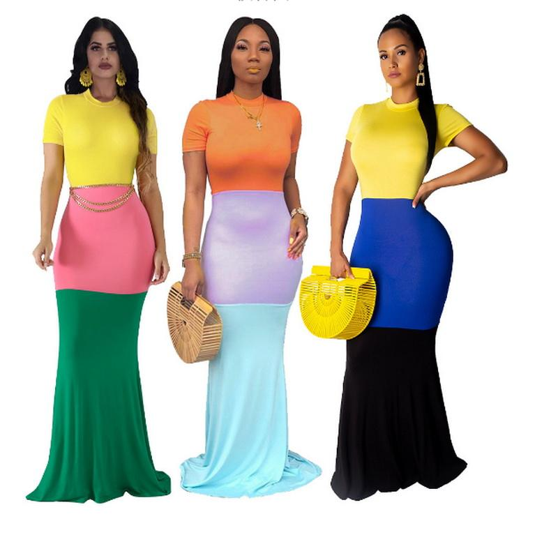 Fashion Casual Printing Sling Loose Colorful Long Dress Plus Size Party Women Clothing Summer Ladies Print Apparel
