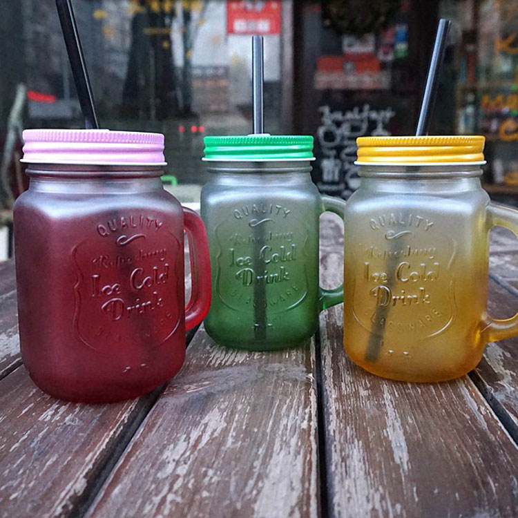 400ml 500ml square shaped mason jars bottles frosted glass mason jars mug/cup bulk with Metal lid and plastic straw