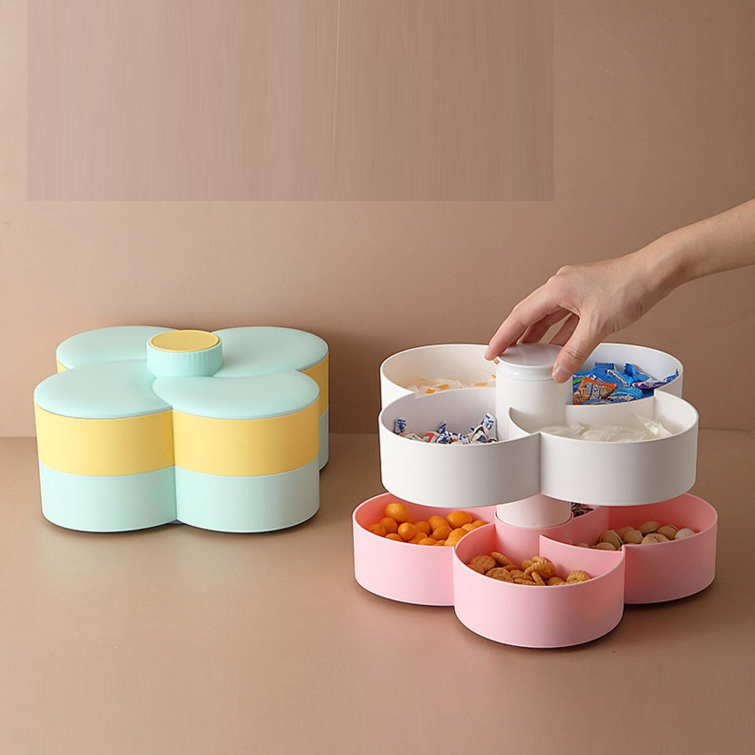 Hot Selling Double Rotating Candy Box Creative Petal Dried Fruit Storage Box Fruit Tray