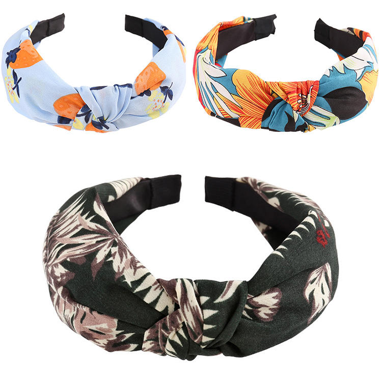 Chiffon [ Hair Accessories Women ] Cheap Headband CLARMER New Fashion Hair Accessories Women Headband Knot Cheap Custom Fabric Chiffon Flower Knot Headband Women