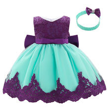 Wholesale cute dress children girl dress bow  princess dress with free hairband L1911XZ