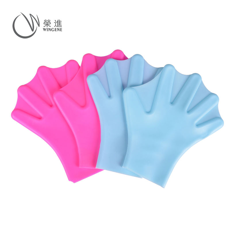 Waterproof Fin Flippers Silicone Rubber Finger Webbed Swim Training Swimming Gloves