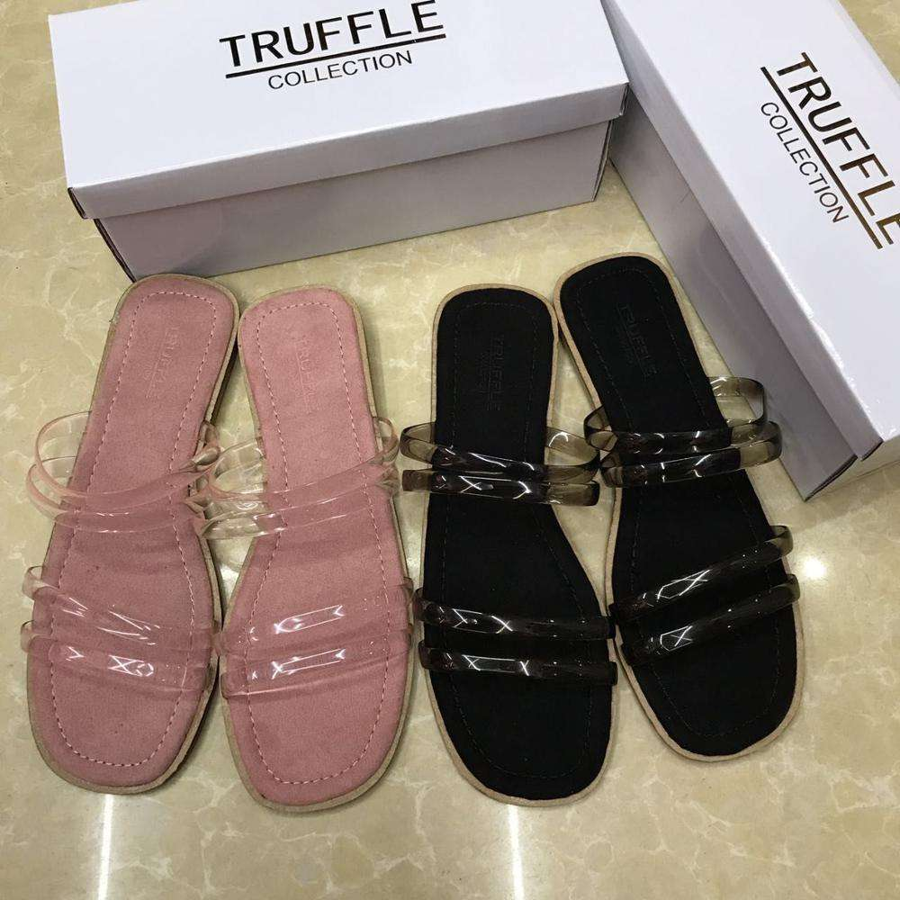 2019 Women Stock Wholesale Cheap Candy Color Suede Insole Slippers Ladies Transparent See Through PVC Strap Slide Rome Slippers
