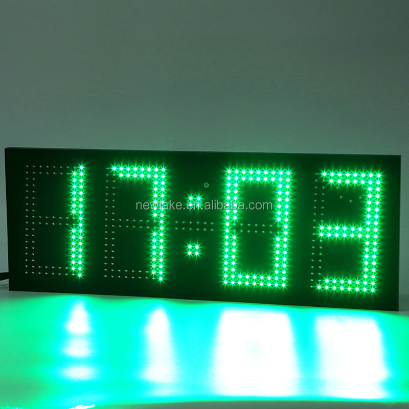 Green Waterproof Remote Control Digital Clock 4 Digits Led Outdoor Wall Clock