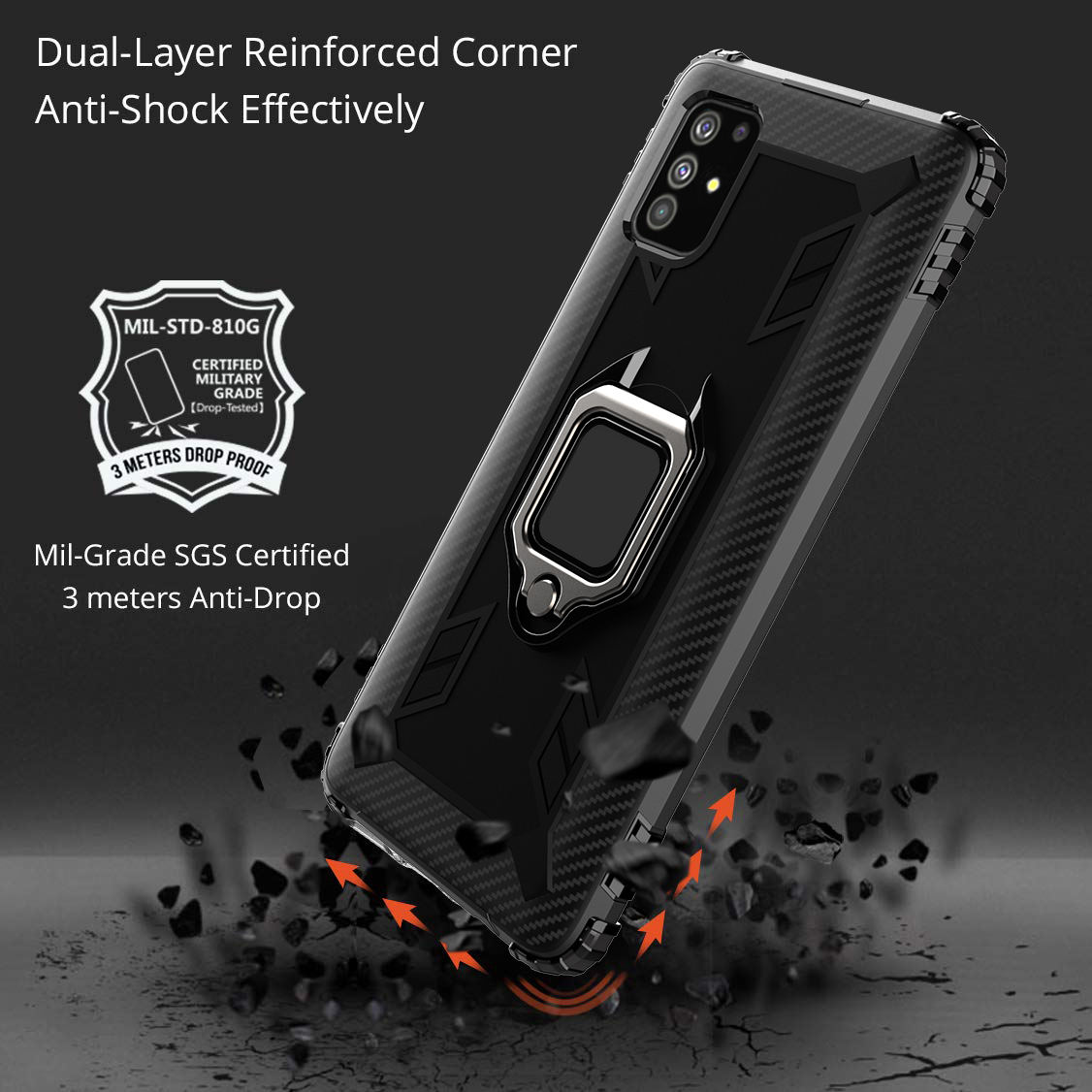 Magnetic Kickstand Covers Case For Samsung Galaxy A50 A51 A70 A71 A40 A20E Phone Case Car Holder Stand Finger Ring Phone Cases